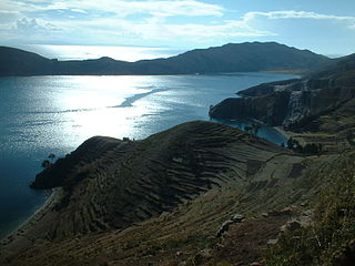 Isla del Sol island in the southern part of Lake Titicaca