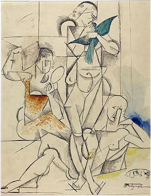 L'Oiseau bleu (Metzinger) - Jean Metzinger, 1913, Etude pour L'Oiseau bleu (Study for The Blue Bird), watercolor, graphite and ink on paper, 37 x 29.5 cm, Centre Pompidou, Musée National d'Art Moderne, Paris