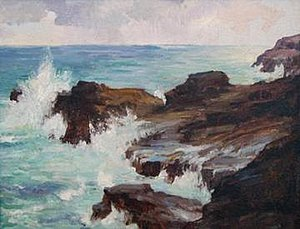 Hawaiian art - Hawaii visitor Joseph Henry Sharp's oil painting 'Blow Hole, Honolulu'