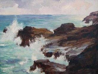 Hawaiian art - Hawaii visitor Joseph Henry Sharp's oil painting 'Blow Hole, Honolulu'