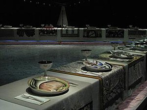 Judy Chicago - The Dinner Party as installed at the Brooklyn Museum.