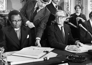 Lancaster House Agreement 1979 ceasefire agreement ending the Rhodesian Bush War, dissolving the unrecognized state Zimbabwe Rhodesia, imposing British direct rule, to be eventually replaced by a Republic of Zimbabwe