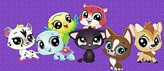 Littlest Pet Shop: A World of Our Own - The main pets from left to right: Savannah Cheetaby, Bev Gilturtle, Edie Von Keet, Jade Catkin (on bottom), Trip Hamston (on top), Roxie McTerrier, and Quincy Goatee.