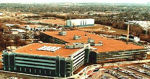 Military Personnel Records Center - MPRC's location in Overland, Missouri with the Army HRC building attached.  The white building in the background is the U.S. Army Publications Distribution Center.