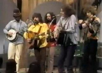 Muleskinner (band) - L-R: Bill Keith, Clarence White, David Grisman, Peter Rowan, Richard Greene. Hidden behind R. Greene: Stuart Schulman.