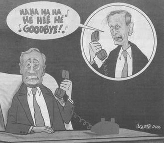 """Na Na Hey Hey Kiss Him Goodbye - The Paquette cartoon shows Jean Chrétien taunting Paul Martin by singing """"Na Na Hey Hey Kiss Him Goodbye"""""""