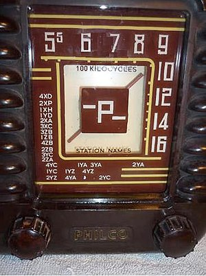 Call signs in New Zealand - Radio dials like this one from a vintage Philco (circa 1953) included New Zealand call signs.