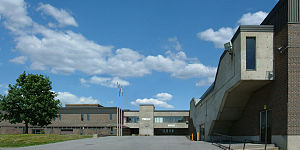 Pierrefonds Comprehensive High School - Main entrance, looking east, photographed in June 2006