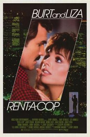 "Rent-a-Cop (film) - Theatrical release poster by Tom Jung.  Tagline: ""There's a killer on the loose and the lady is the target"""