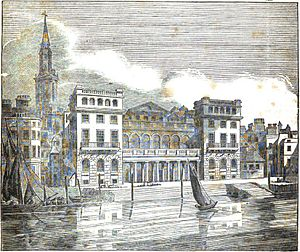 Hungerford Market - New Hungerford Market, River Thames front, view before the building of Hungerford Bridge