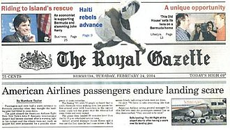 The Royal Gazette (Bermuda) - Front page of the Royal Gazette, 24 February 2004