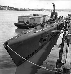 "USS Sargo (SS-188) - Sargo moored at Mare Island Naval Shipyard, 28 April 1943. Raised metal ""188"" is seen in faint relief on port bow. White outlines mark recent alterations"