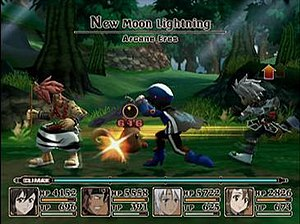 Tales of Legendia - A real-time battle sequence. The 3D-rendered characters are restricted to a two-dimensional plane.