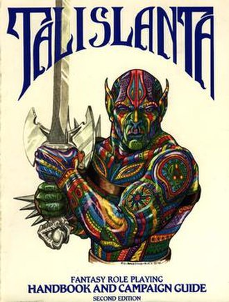 Talislanta - Striking cover to the second edition Talislanta Handbook, published by Bard games in 1989. Art by P.D. Breeding-Black.