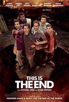 "Six worried-looking men stand on a suspended part of a street over a fiery pit. The primary cast members are listed across the top, and the tagline ""Nothing ruins a party like the end of the world"" is at the bottom."