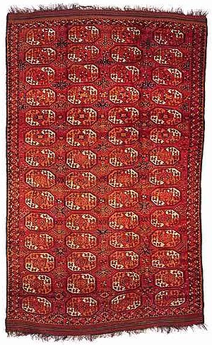 "Ersari carpet - Turkmen Ersari main carpet, mid-19th century, ""elephant foot's"" design"
