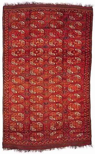"""Ersari carpet - Turkmen Ersari main carpet, mid-19th century, """"elephant foot's"""" design"""