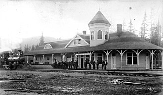 Seattle, Lake Shore and Eastern Railway - The new Seattle, Lake Shore and Eastern Railway station at Snoqualmie, c 1890s.
