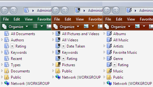 Virtual folder - From left-to-right, the Search Folders for documents, pictures and videos, and music that appear in the navigation pane of Windows Vista Beta 1.