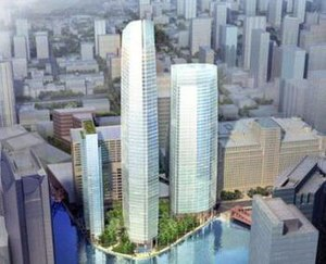 Wolf Point South Tower - Rendering of the Wolf Point Towers plan with Wolf Point South Tower in the center