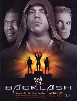 Backlash (2003) - Promotional poster featuring Shelton Benjamin, Kurt Angle and Charlie Haas