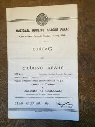 1959–60 National Hurling League - Match programme for the 1960 league final.