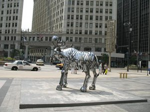 Moose (W-02-03) - Display at the lower end of the Magnificent Mile across Michigan Avenue from the Wrigley Building