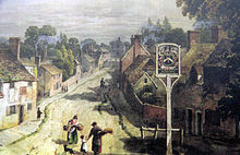 Watercolour of Aldermaston looking up the street with house on the left and right and a public house in the foreground on the right