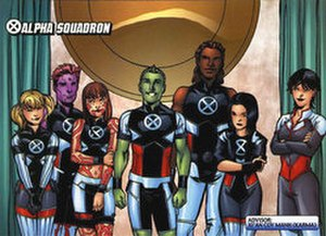 Alpha Squadron (comics) - From left to right; Rubbermaid, Indra, Loa, Anole, Kidogo, Network, and Karma