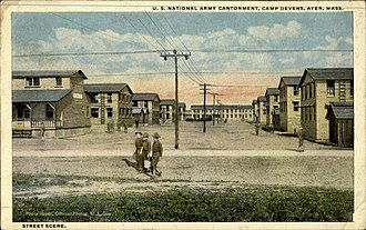 Fort Devens - Old postcard of Army cantonment at Camp Devens