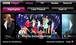 BBC iPlayer - BBC iPlayer as displayed by the Nintendo Wii