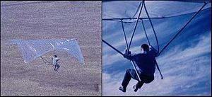 Ultralight trike - Barry Hill Palmer, 1961. First hang glider based on Rogallo's flexible wing.