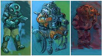 Big Daddy (BioShock) - Several designs were considered for the Big Daddy during development