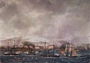 Spanish expedition to Balanguingui - Naval bombardment of Balanguingui, by Fernández Muñoz.