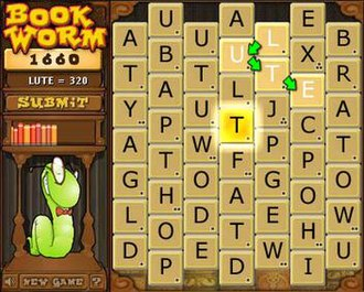 "Bookworm (video game) - The board with rewarded Gold tile ""T"""