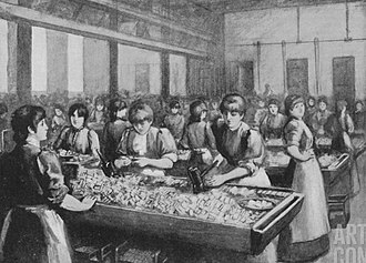 Packing girls at the Bryant & May factory. Bryant and May packing girls.jpg