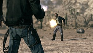 Call of Juarez: Bound in Blood - A duel in the PC version of Bound in Blood. Players must keep the character's hand as close to their gun as possible using the left analog stick or mouse, whilst simultaneously using the right analog stick or keyboard to move the camera so as to keep the enemy centered. A bell rings when the player can draw their weapon.
