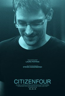 The film poster shows Edward Snowden.