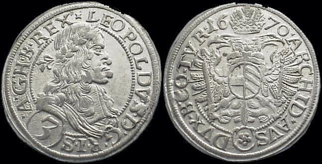 Coin of Leopold I 3 Kreuzer 1670