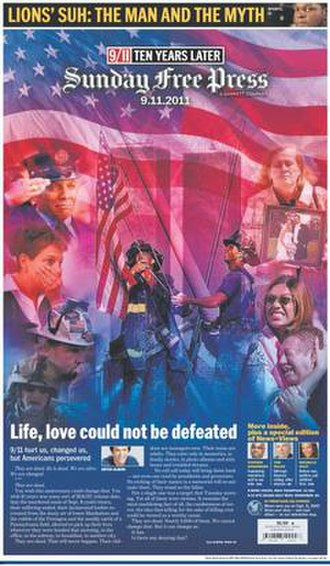 Detroit Free Press - Image: Detroit Free Press Mitch Albom 9 11 10th anniversary front page Sept 11, 2011