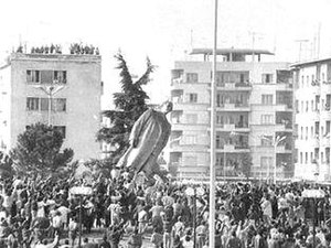 Fall of communism in Albania - The toppling of Enver Hoxha's statue in central Tirana