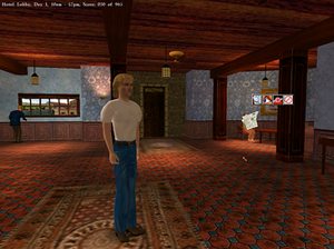 Gabriel Knight 3: Blood of the Sacred, Blood of the Damned - Gabriel Knight is standing in the hotel lobby. The verb chooser is shown.