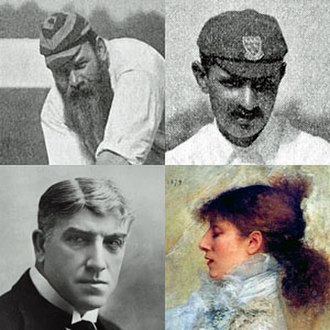 Ben Travers - Inspirations to the young Travers: clockwise from top left: W G Grace, Ranjitsinhji, Sarah Bernhardt, Lucien Guitry