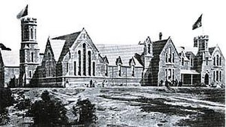 Ipswich Grammar School - Early photograph of the Ipswich Grammar School, including (on the left) the Great Hall