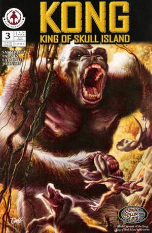 King Kong (comics) - King Kong storms his way through the Skull Island jungle. From issue No. 3 of the comic mini-series Kong: King of Skull Island. By Markosia Comics