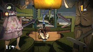 LittleBigPlanet Karting - LittleBigPlanet Karting includes the series grappling hook mechanic during races.
