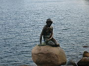 The Little Mermaid statue in Copenhagen harbor