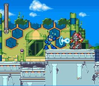 Mega Man 7 - Mega Man fires a charged Mega Buster blast at Bunby Tank in the opening stage.
