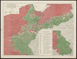 Germanisation of Poles during the Partitions - Linguistic map of eastern Germany in 1910.