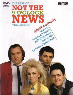 Not the Nine O'Clock News - DVD cover. Left to right: Mel Smith, Pamela Stephenson, Rowan Atkinson, and Griff Rhys Jones.